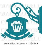 Vector Clip Art of Retro Teal Pub Shingle Sign by Vector Tradition SM