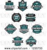 Vector Clip Art of Retro Teal Quality Guarantee Labels by Vector Tradition SM