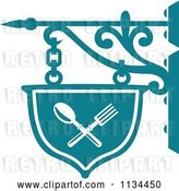 Vector Clip Art of Retro Teal Restaurant Diner Shingle Sign 2 by Vector Tradition SM