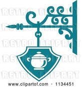 Vector Clip Art of Retro Teal Restaurant Diner Shingle Sign 3 by Vector Tradition SM
