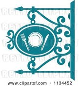 Vector Clip Art of Retro Teal Restaurant Diner Shingle Sign 4 by Vector Tradition SM