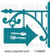 Vector Clip Art of Retro Teal Restaurant Diner Shingle Sign 6 by Vector Tradition SM