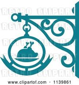 Vector Clip Art of Retro Teal Restaurant Diner Shingle Sign 7 by Vector Tradition SM