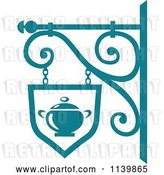 Vector Clip Art of Retro Teal Restaurant Diner Shingle Sign 8 by Vector Tradition SM