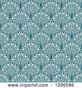 Vector Clip Art of Retro Teal Seamless Floral Background Pattern by Vector Tradition SM