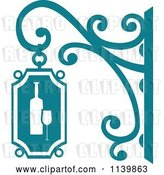 Vector Clip Art of Retro Teal Wine Shingle Sign by Vector Tradition SM