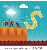 Vector Clip Art of Retro Team of Business Men Trying to Save the Dollar by Qiun