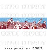Vector Clip Art of Retro Team of Tradesmen Professional Workers and Roofs over Rays by Patrimonio