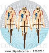 Vector Clip Art of Retro Team of Woodcut Cyclists in a Circle of Sunshine by Patrimonio