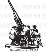 Vector Clip Art of Retro Team Setting up a Military Gun by BestVector