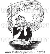 Vector Clip Art of Retro Teen Girl Daydreaming of Music and Mathmatics over a Book in Black and White by Picsburg
