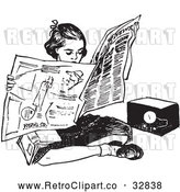 Vector Clip Art of Retro Teen Girl Reading a Newspaper on the Floor by Picsburg