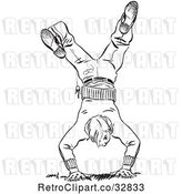 Vector Clip Art of Retro Teenage Boy Break Dancing by Picsburg