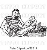 Vector Clip Art of Retro Teenage Boy Flirting with His Girlfriend on a Telephone by Picsburg