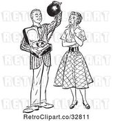 Vector Clip Art of Retro Teenage Boy Offering His Girlfriend Commitment As a Ball and Chain in by Picsburg