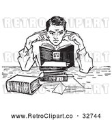 Vector Clip Art of Retro Teenage Boy Plugging His Ears in a Noisy Library in Black and White by Picsburg