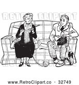 Vector Clip Art of Retro Teenage Boy Talking to a Knitting Lady in Black and White by Picsburg