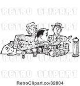 Vector Clip Art of Retro Teenage Couple and Rude Boy Reaching Across a Table in by Picsburg