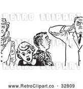 Vector Clip Art of Retro Teenage Couple Shocked at Strict Fathers in Black and White by Picsburg