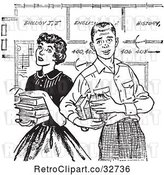 Vector Clip Art of Retro Teenage Couple with Books and School Blueprints in by Picsburg