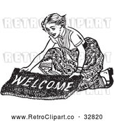 Vector Clip Art of Retro Teenage Girl Laying out a Welcome Mat for Boys by Picsburg