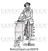 Vector Clip Art of Retro Teenage Girl Looking Thoughtful and Standing with Books on Steps by Picsburg