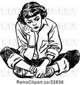 Vector Clip Art of Retro Teenage Girl Pouting and Sitting on the Floor by Picsburg