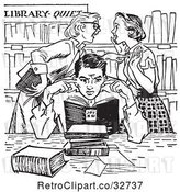 Vector Clip Art of Retro Teenage Girls Gossiping Behind a Boy Covering His Ears in a Library in by Picsburg
