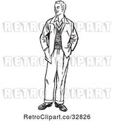 Vector Clip Art of Retro Teenage Guy Standing with His Hands in His Pockets by Picsburg