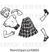 Vector Clip Art of Retro Teenage Teenage Girl Split Apart by Picsburg