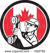 Vector Clip Art of Retro Telephone Repair Guy Holding out a Receiver in a Canadian Flag Circle by Patrimonio