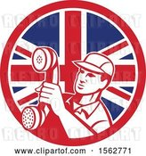 Vector Clip Art of Retro Telephone Repair Guy Holding out a Receiver in a Union Jack Flag Circle by Patrimonio