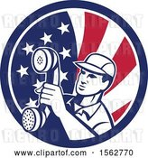 Vector Clip Art of Retro Telephone Repair Guy Holding out a Receiver in an American Flag Circle by Patrimonio