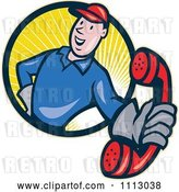 Vector Clip Art of Retro Telephone Repair Guy in a Circle of Rays Holding out a Red Receiver by Patrimonio