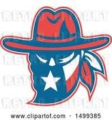 Vector Clip Art of Retro Texan Outlaw Wearing a Bandana and Cowboy Hat by Patrimonio