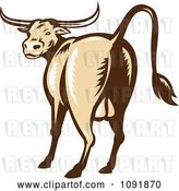 Vector Clip Art of Retro Texas Longhorn Bull from the Rear by Patrimonio