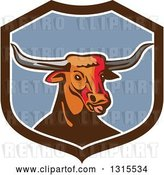 Vector Clip Art of Retro Texas Longhorn Steer Bull in a Brown White and Blue Shield by Patrimonio
