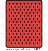 Vector Clip Art of Retro the Back of a Red Playing Card with Black Diamonds by Andy Nortnik