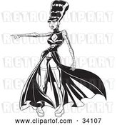 Vector Clip Art of Retro the Bride of Frankenstein in a Sexy Dress and Boots, Pointing to the Left by Lawrence Christmas Illustration