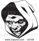 Vector Clip Art of Retro the Head of the Grim Reaper, Partially in Shadow Under a Hood by Lawrence Christmas Illustration