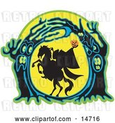 Vector Clip Art of Retro the Headless Horseman Holding His Pumpkin Head up High As His Horse Rears up in a Haunted Forest of Evil Trees by Andy Nortnik
