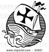 Vector Clip Art of Retro the Mayflower Ship Transporting Pilgrims to America by Andy Nortnik