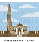 August 14th, 2018: Vector Clip Art of Retro the Qutb Minar in Brown Under a Blue Sky with Clouds by Patrimonio