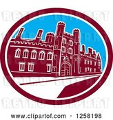 Vector Clip Art of Retro the St John's College Building of the University of Cambridge in a Maroon White and Blue Oval by Patrimonio