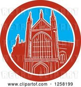 Vector Clip Art of Retro the Winchester Cathedral Church of England Cathedral in Winchester, Hampshire, England by Patrimonio