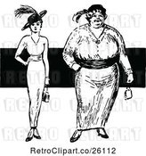 Vector Clip Art of Retro Thin and Overweight Fashionable Women by Prawny Vintage