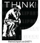 Vector Clip Art of Retro Thinker Statue and Text by Prawny Vintage