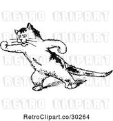 Vector Clip Art of Retro Threatening Cat by Prawny Vintage