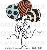 Vector Clip Art of Retro Three Patterned Party Balloons by Steve Klinkel