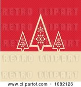 Vector Clip Art of Retro Three Tan Christmas Trees over Red Dots with Copyspace by KJ Pargeter